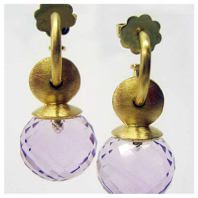 Ohrhänger, 750er Gold, Amethyst Perle facettiert