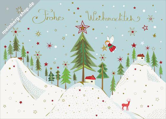 Tannenwald Schneehügel Postkarte