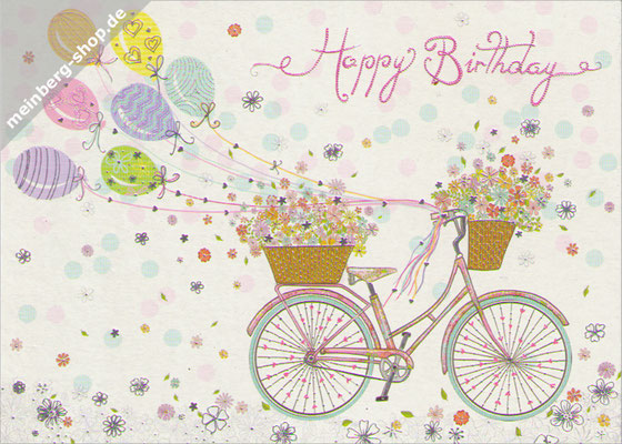 Happy Birthday Fahrrad Luftballons Postkarte