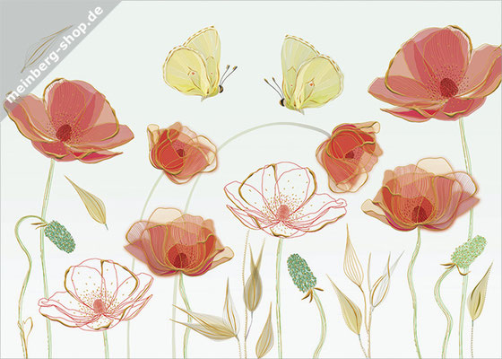 Mohnblumen Schmetterlinge Postkarte