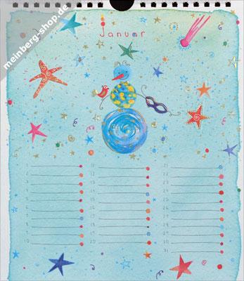 Kalendermonat Januar Schneemann