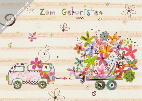 Flower Power Bus Postkarte