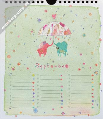 Kalendermonat September Elefanten