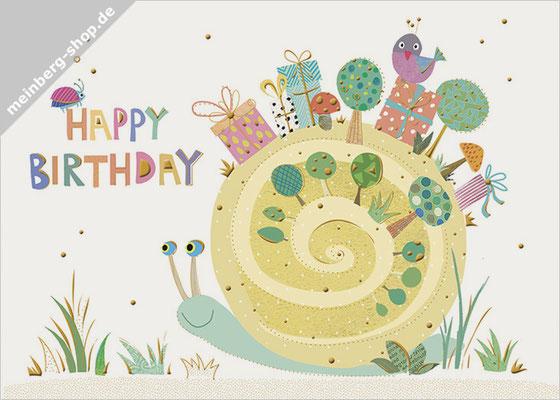Schnecke Happy Birthday Postkarte