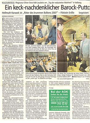 """Kulturkreis Vellberg, """"Ritter des Krummen Balken"""", HT Artikel vom 29. April 2007"""