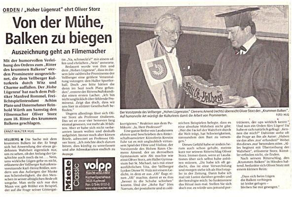 """Kulturkreis Vellberg, """"Ritter des Krummen Balken"""", HT Artikel vom 3. April 2006"""