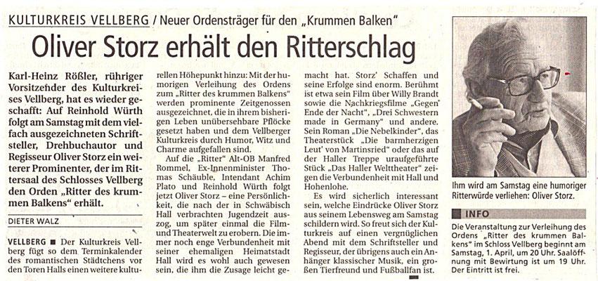 """Kulturkreis Vellberg, """"Ritter des Krummen Balken"""", HT artikel vom 28. März 2006"""