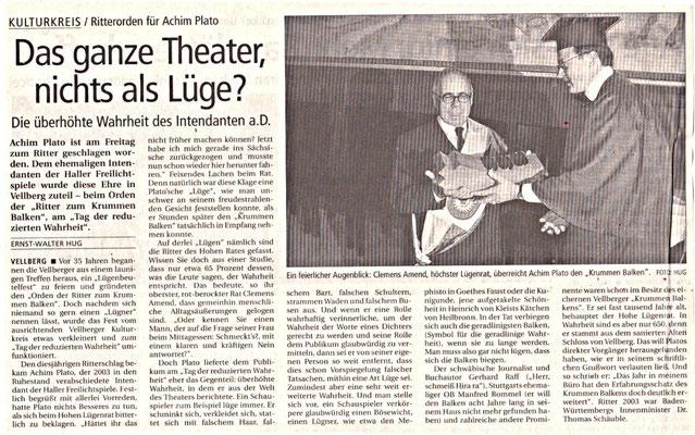 """Kulturkreis Vellberg, """"Ritter des Krummen Balken"""", HT Artikel vom 4. April 2004"""