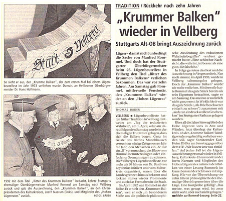 "Kulturkreis Vellberg, ""Ritter des Krummen Balken"", Lesung Manfred Rommel"