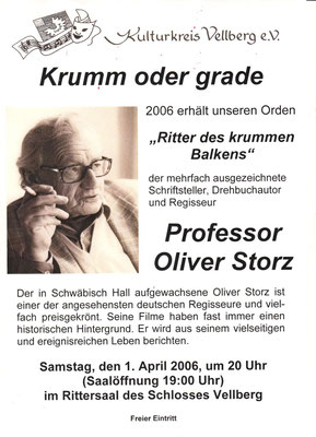 "Kulturkreis Vellberg, ""Ritter des Krummen Balken"", Oliver Storz, 1. April 2006"