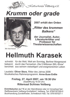 "Kulturkreis Vellberg, ""Ritter des Krummen Balken"", Hellmuth Karasek, 27. April 2007"