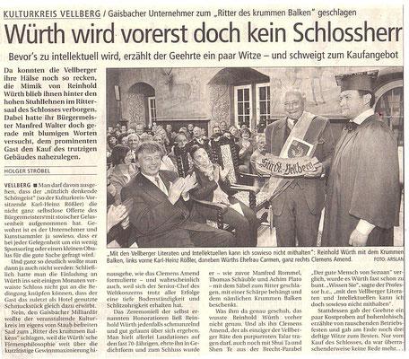 """Kulturkreis Vellberg, """"Ritter des Krummen Balken"""", HT Artikel vom 10.April 2005"""