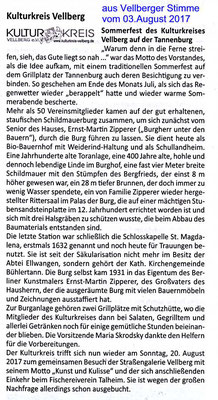 Presseartikel 03. August 2017,  Vellberger Stimme,  Sommerfest des kulturkreis Vellberg