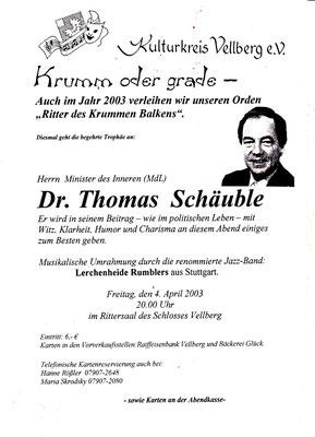 "Kulturkreis Vellberg, ""Ritter des Krummen Balken"", Thomas Schäuble, 4. April 2003"