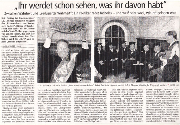 """Kulturkreis Vellberg, """"Ritter des Krummen Balken"""", HT Artikel vom 6. April 2003"""