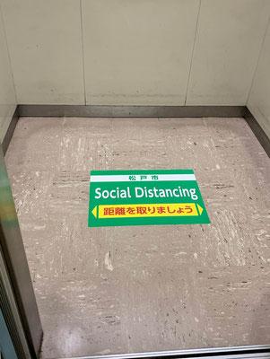 松戸市役所内エレベーター フロアシート