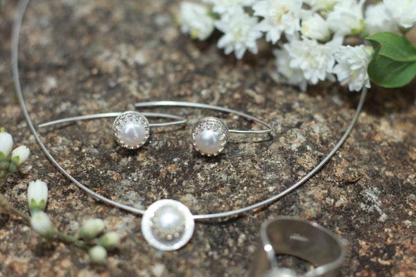 Ohrringe Perle gefasst Hänger 925 Sterling Silber 79,-