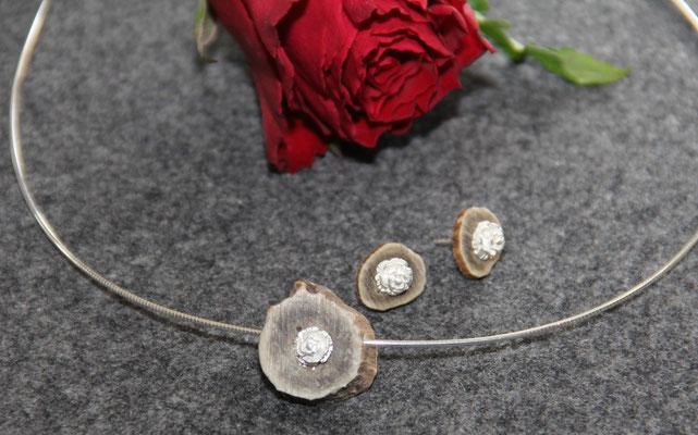 Hornanhänger mit Rose in 925 Sterling Silber mit Reif  75,-€