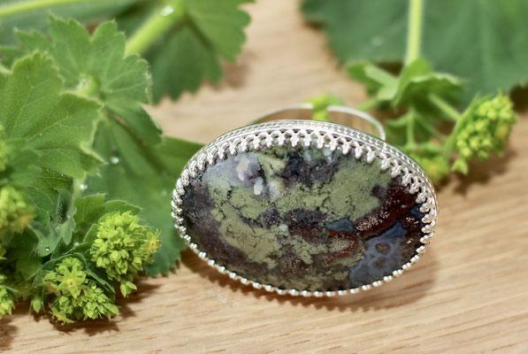 Ring mit Moosachat gefasst 925 Sterling Silber  139,-€ (Beispiel )