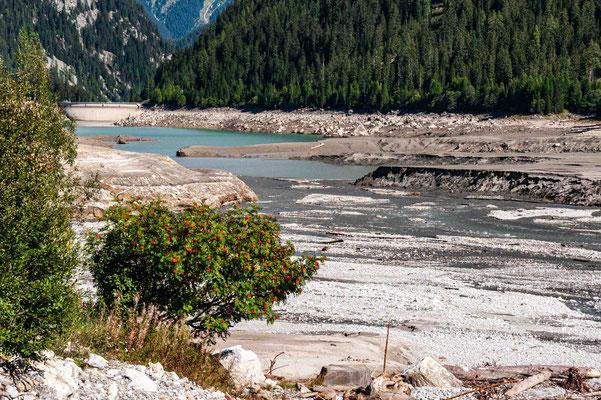 Sufner Stausee bei Niedrigwasser