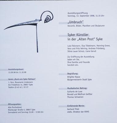 """Einladungskarte zur Ausstellung """"Umbruch"""" 1998"""