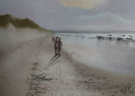Nordsee-Strand  Pastell-Malerei 40 x 30 cm