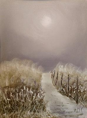 Winterliche Stimmung in den Dünen  Pastell-Malerei 40 x 30 cm