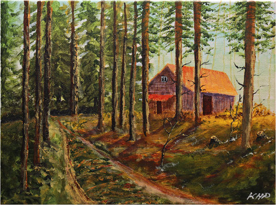Haus am Wald, Fantasie Acryl auf Keilrahmen 40 x 30cm
