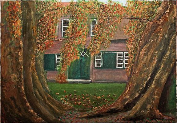 Klostergarten in Uetersen (SH) nach einem Foto, Öl auf Keilrahmen 70 x 50cm
