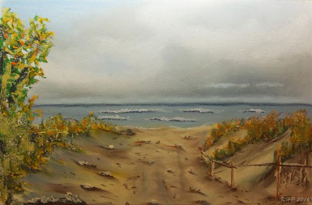 Ostseeküste in Pastell auf Pastellblock 30,5 x 45,5 cm