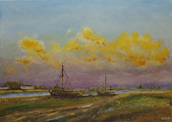 Boote am Kanal  Öl auf Keilrahmen 70 x 50 cm