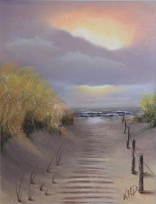 Dünenübergang mit Abendstimmung , Pastellmalerei  40 x 30 cm