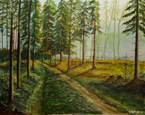 Waldspaziergang  Acryl auf Malplatte 50 x 40 cm