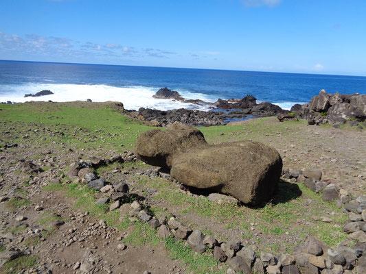 1960 riss ein Tsunami viele der Moais um - einige sind auch heute noch nicht wieder aufgestellt