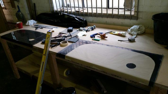 Carbon fibre panel preparation for triming to shape