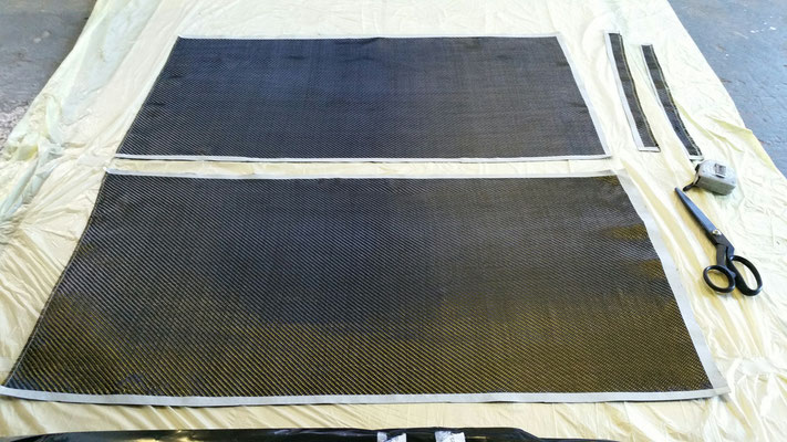 dry carbon fibre prepared for laminating