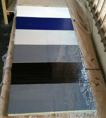 GRP test samples with various high quality finishes