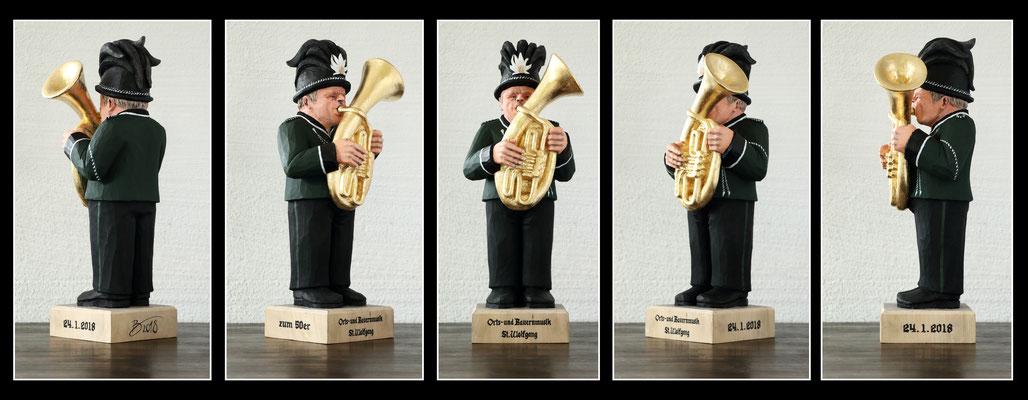 Bassflügelhornspieler - 12x15x40cm - Linde mit Acryl bemalt