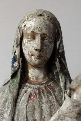 """Restaurierte Madonna """"Detailaufnahme des IST-Zustandes"""" - 15x15x50cm - Gipsguss von 1915"""