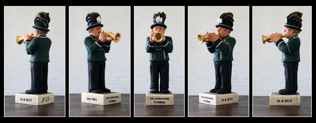 Trompetenspieler - 12x17x38cm - Pappel mit Acryl bemalt