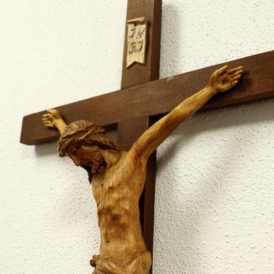 "Restauriertes Kruzifix ""Detailaufnahme"" - 30x80cm - Kiefernholz"