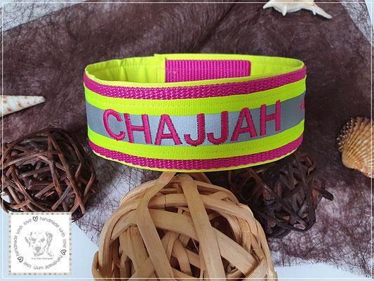Signalhalsung/Kletthalsband in leuchtgelb/pink