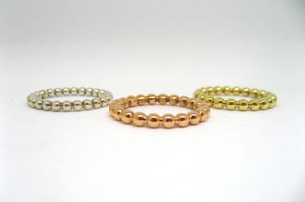 Kugelring aus Silber, Roségold und Gelbgold