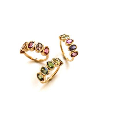 Colour-Up-Ringe mit verschiedenen Edelsteinen