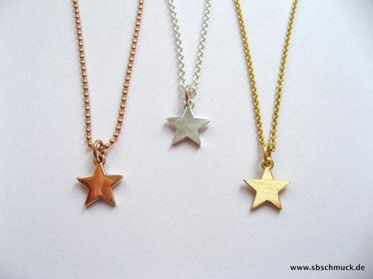 Sternchenanhänger aus Roségold, Gelbgold und Silber