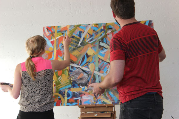 Collaborative Painting Project (with Harisson Love); 2014 Hello World Exchange Exhibition, SUB MISSION, San Francisco, CA, USA