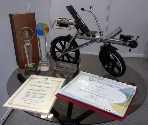 Prizes for TWOgether Bikes at the Innotech Expo 2018 in Taipei