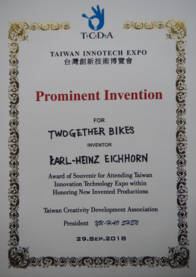 Prominent Invention Award (TCDA) - TWOgether Bikes