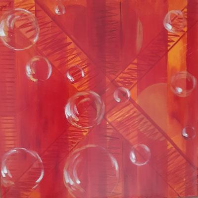 Escalier rouge / 50 x 50 cm / Huile / Prix : 100 euros