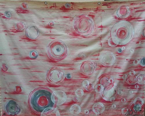 Bulles roses / Toile de 1,90 x1,50 m  / Acrylique / Prix : 200 euros